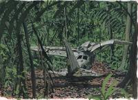 plane wreck, 22,8x30,5 cm, gouache